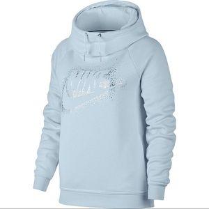 Nike Metallic Funnel Neck Baby Blue Hoodie